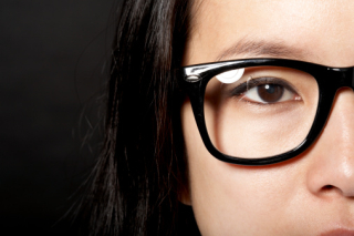 Woman.half face glasses